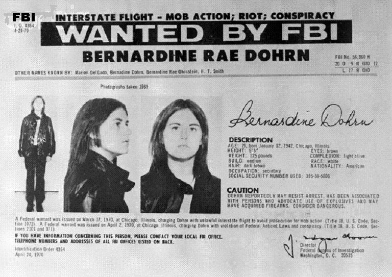 "14 Oct 1970 --- Washington:  Replacing one woman with another, the FBI, October 14, added to its 10 Most Wanted list of fugitives, Bernardine Rae Dohrn, (shown in FBI flier), a self-proclaimed Communist revolutionary who advocates widespread terrorist bombings.  In putting her on the list in place of the captured Black militant, Angela Davis, the FBI described Miss Dohrn, 28, as a reputed underground leader of the ""Violence-Oriented Weatherman Faction of Students for a Democratic Society"". --- Image by © Bettmann/CORBIS"