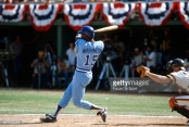 SAN DIEGO, CA - CIRCA 1981:  Claudell Washington #15 of the Atlanta Braves bats against the San Diego Padres during an Major League Baseball game circa 1981 at Jack Murphy Stadium in San Diego, California. Washington played for the Braves from 1981-86.  (Photo by Focus on Sport/Getty Images) *** Local Caption *** Claudell Washington