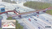 Cobb County s engineering consultant submitted a rendering of a single span bridge, with pedestrians and bicyclists on one side and commuter trams on the other, as an alternative to the county s plan to build a double deck bridge.