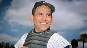 New York Yankee catcher Yogi Berra poses at spring training in Florida, in an undated file photo. (AP Photo)