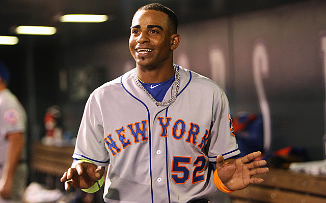 Aug 21, 2015; Denver, CO, USA; New York Mets center fielder Yoenis Cespedes (52) during the sixth inning against the Colorado Rockies at Coors Field. Mandatory Credit: Chris Humphreys-USA TODAY Sports
