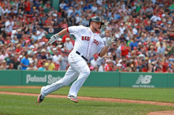 (Boston, MA  06/30/2013) Boston Red Sox Brandon Snyder runs up the first base line after he doubles in two runs in the second inning at Fenway Park on Sunday, June 30, 2013. Staff Photo by Matt West.