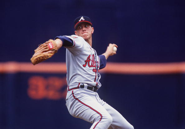 7 Apr 1994: STEVE AVERY OF THE ATLANTA BRAVES PITCHES VERSUS THE PADRES AT SAN DIEGO JACK MURPHY STADIUM.